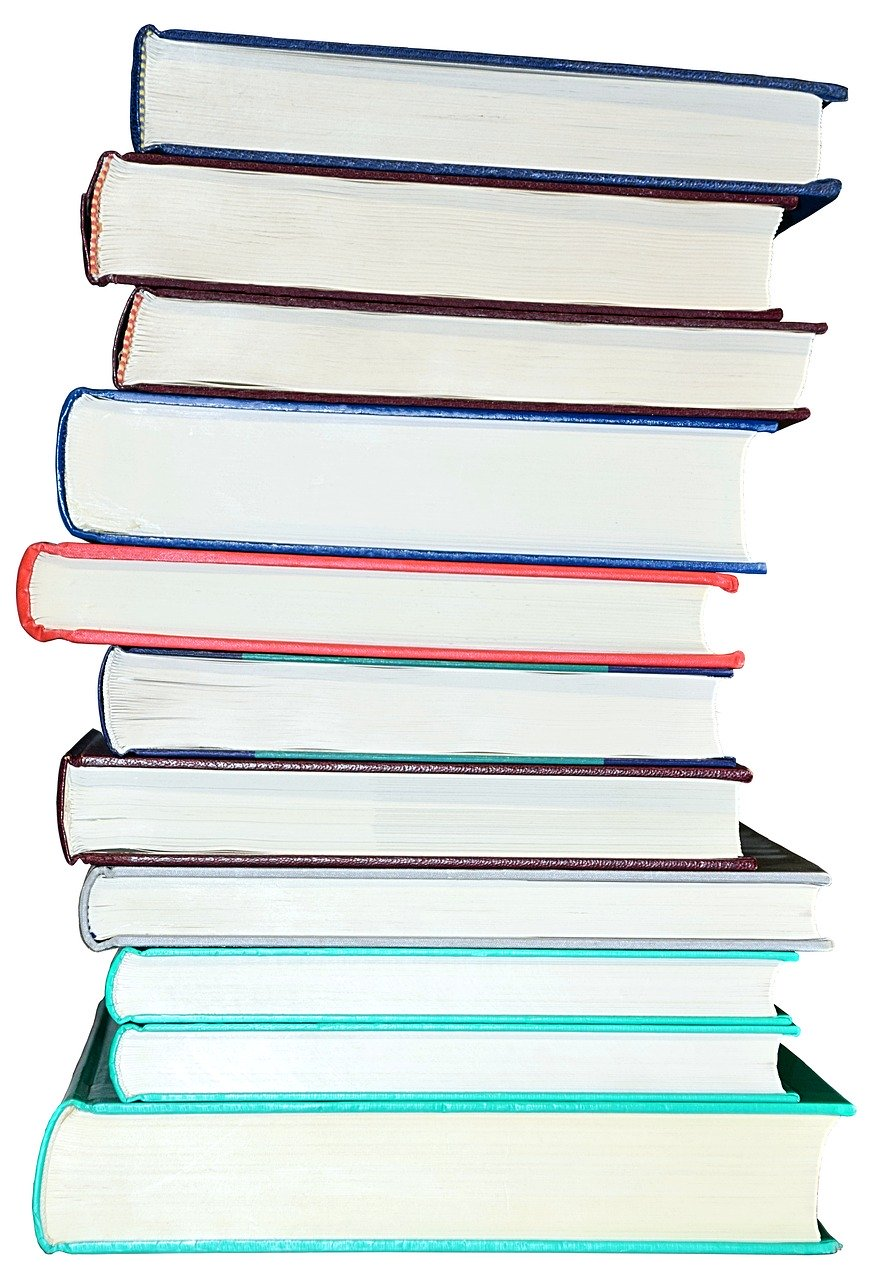 books, book stack, isolated